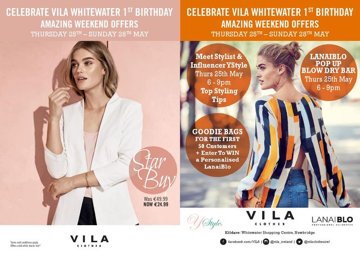 Celebrate @VILA_global First Birthday at Whitewater with their in store event on Thursday 25th May and great offers throughout the weekend!