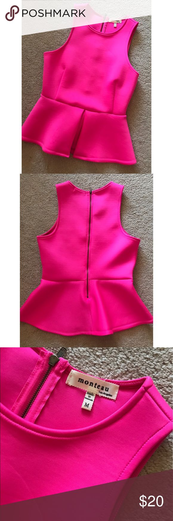 Monteau Hot Pink Neoprene Sleeveless Peplum Top Never been worn hot pink neoprene peplum top in perfect condition. High quality fabric and very flattering! Size medium. Monteau Tops Tank Tops