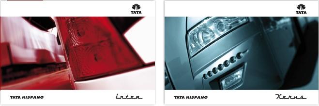 Diseño gráfico para los catálogos, corporativo y de productos, del fabricante de carrocerías Tata.