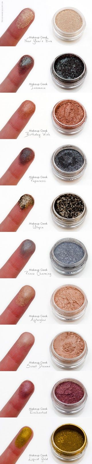 Afterglow has been in my everyday make-up routine, but I plan on getting them all!  <3   (Makeup Geek Pigment Swatches & Review by Dressed In Mint)