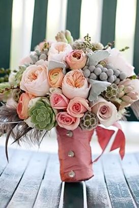 Bouquet Inspiration: peach and pink peony and rose rustic wedding bouquet with succulents via Snippet and Ink