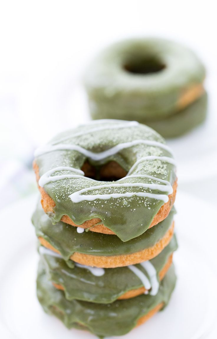 Coconut Matcha Donuts with White Chocolate Glaze | Recipe | Sweet ...