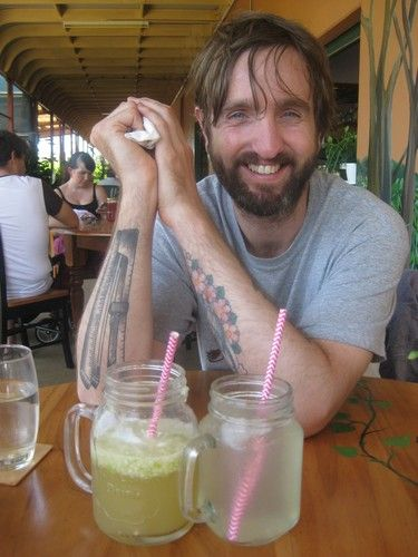 Jeremy with our drinks at Eden. One was an apple ginger beer drink. The other was lavender lemonade. Both were yum