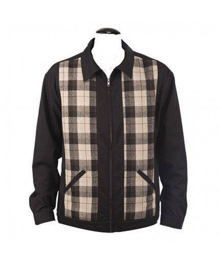 Rockabilly Men's Clothing Two Tone Plaid Jacket Black $117.77 AT vintagedancer.com
