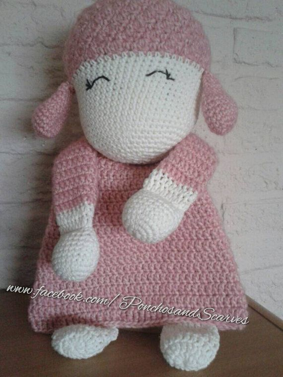 READY TO SHIP  This lovely crochet sheep won't scare anyone ;) Even though the body is flat like a lovey, this animal will leave much more room
