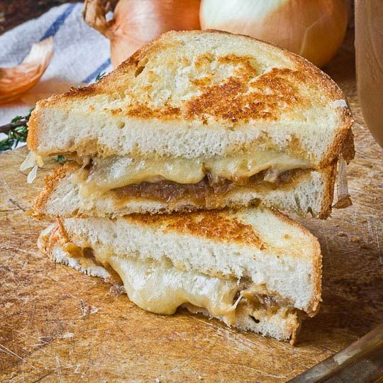 French Onion Soup Grilled Cheese (sub veg stock for beef stock)