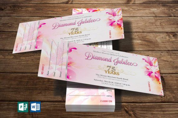 fuchsia diamond jubilee ticket word publisher template 10 gold and
