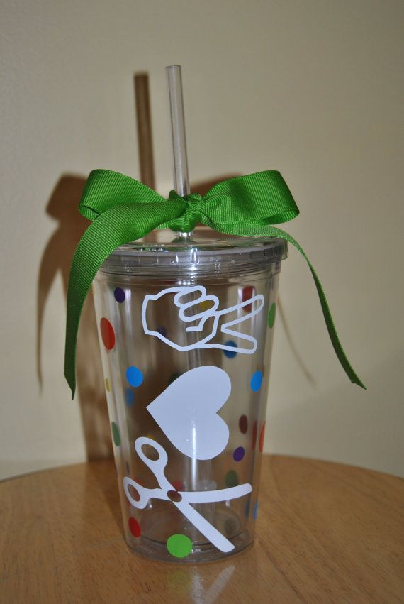 COSMETOLOGY Peace  LOVE Shears Tumbler 16 oz. by DreamThread, $12.00