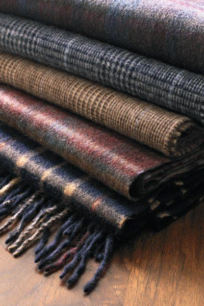 Beautiful wood scarves in masculine plaids