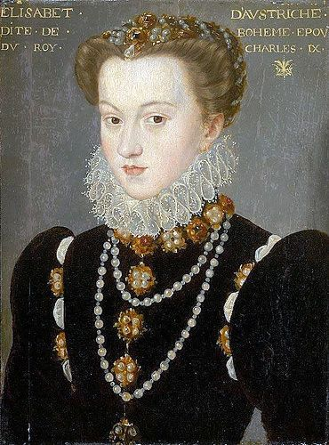 François Clouet, follower of  - French, 1516/20–1572    Portrait of Elizabeth of Austria, Wife of King Charles IX of France, after 1571    Oil on panel  14 1/8 x 10 7/16 in. (35.8 x 26.5 cm)  Inscribed at upper edge: ELISABET. DAVSTRICHE. / DITE. DE. BOHEME. EPOV. / DV. ROY. CHARLES. IX.  Gift of Mrs. Lillian S. Timken, 1951.317  Art Institute, Chicago