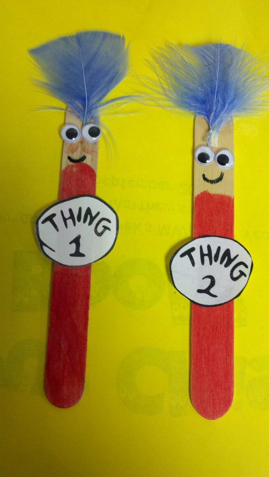 Maybe have story hour first and then a craft. Dr. Seuss: Thing 1 and Thing 2! Popsicle stick craft