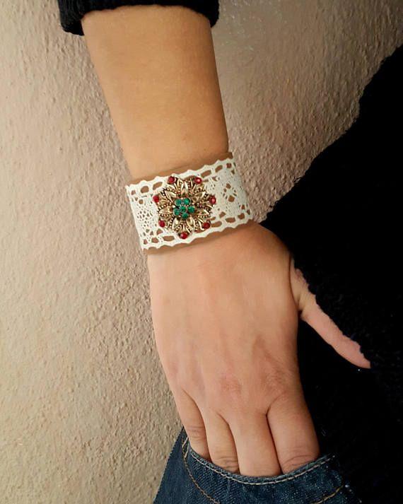 Lace boho bracelet. Lace boho jewelry. Lace boho cuff. Wrist