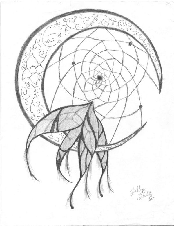 Image gallery moon dream catcher drawing for Dream catcher drawing easy