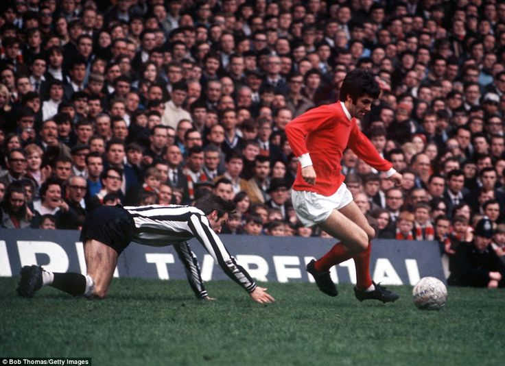 George Best leaves Newcastle defender Frank Clark sprawling. George won two First Division titles with United in the1964–65 and 1966–67 seasons, cementing himself in Old Trafford folklore