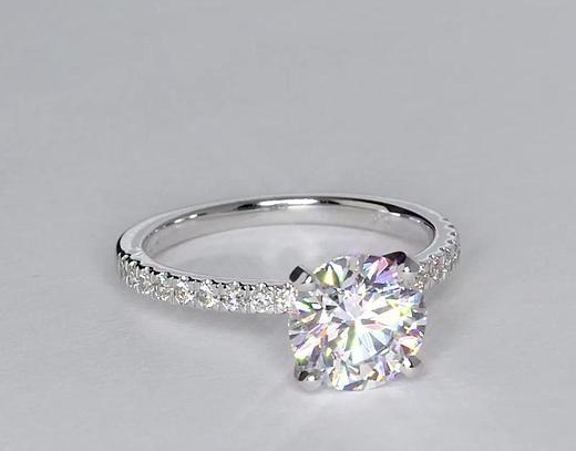 1.83 Carat Diamond Petite Pavé Diamond Engagement Ring   Recently Purchased   Blue Nile
