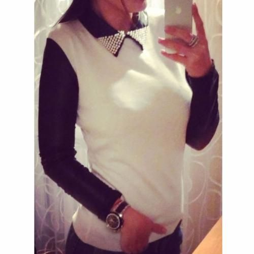 Women Long_Sleeve Lapel Pearl Top Blouse Casual Loose Jumper Pullover Fashion Lady Tee Shirt
