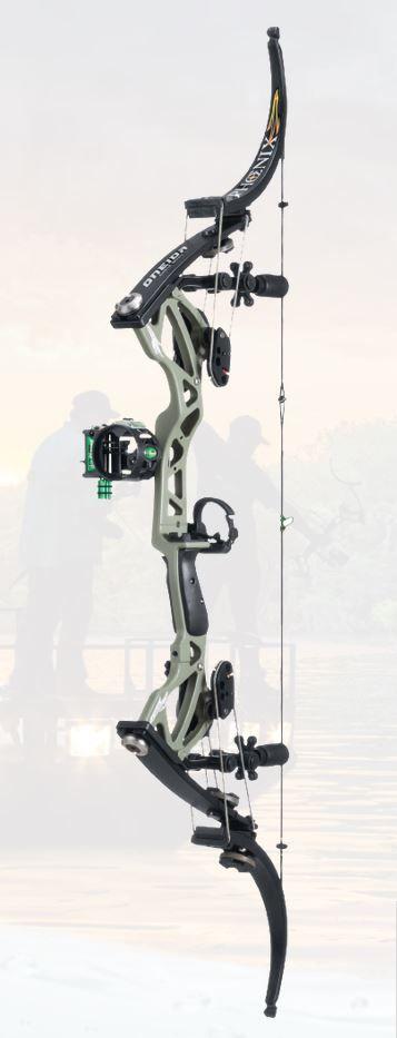 Une variante de l'arc à poulies Oneida Phoenix avec repose flèche, viseur.