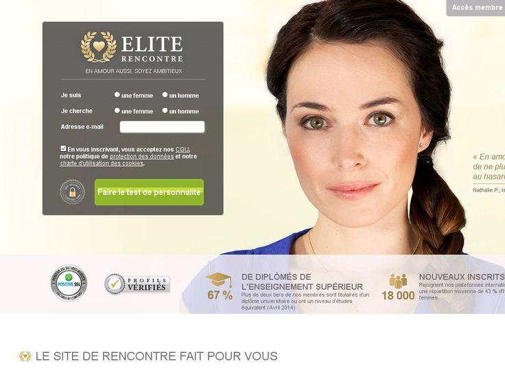 Aperçu de la page d'accueil de Elite Rencontre. #EliteRencontre