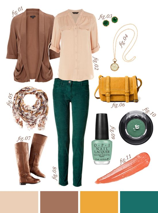 Autumn outfit: blush, light rose brown, mustard, and teal