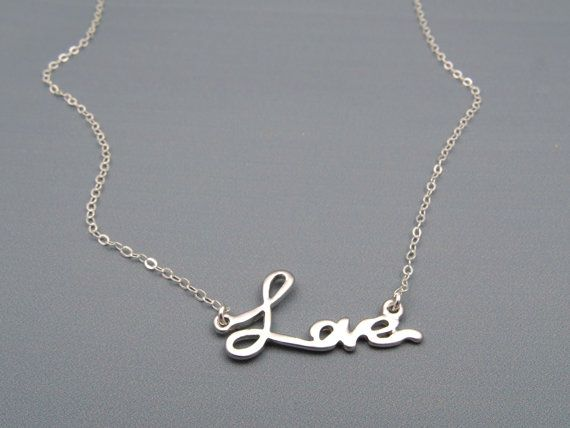 Love Necklace Silver Necklace, Cute Gift Ideas, Romantic Gifts for Women Gifts…