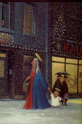 Kerstinkopen. Een postkaart van Gerhard Glück
