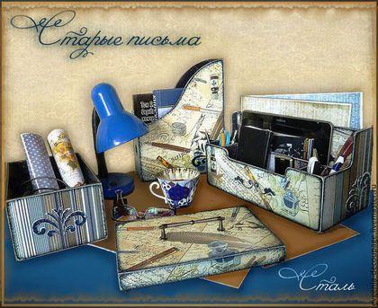 """Письменные приборы ручной работы. Ярмарка Мастеров - ручная работа """"Старые письма""""-набор для письменного стола. Handmade."""