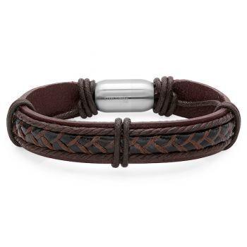 Bello Brown and Black Genuine Leather Men's Bracelet