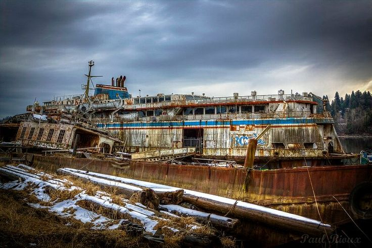 Today, the rusting hulk of the abandoned Queen of Sidney (Hull 85) lies rotting away on the banks of the Fraser River in British Columbia.