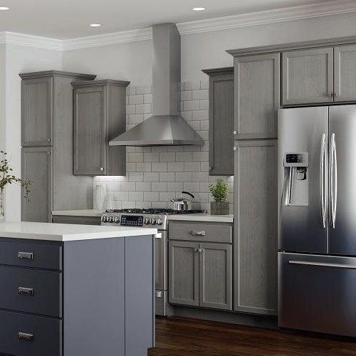 Kitchen from the brochure showing dark grey stain applied ...