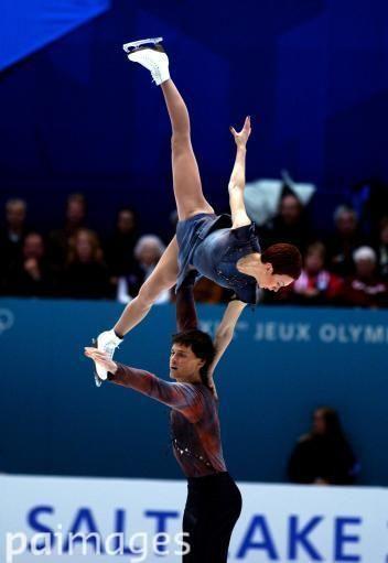 Russia's Tatiana Totmianina and partner Maxim Marinin in action during the pairs free programme Winter Olympics - Salt Lake City 2002 - Figure Skating - Pairs Free Programme - Images - Press Association
