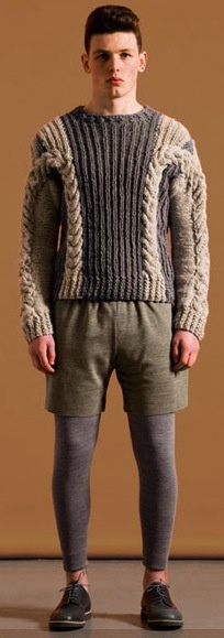 If it is cold enough to wear tights and a sweater, then just wear pants instead of shorts!