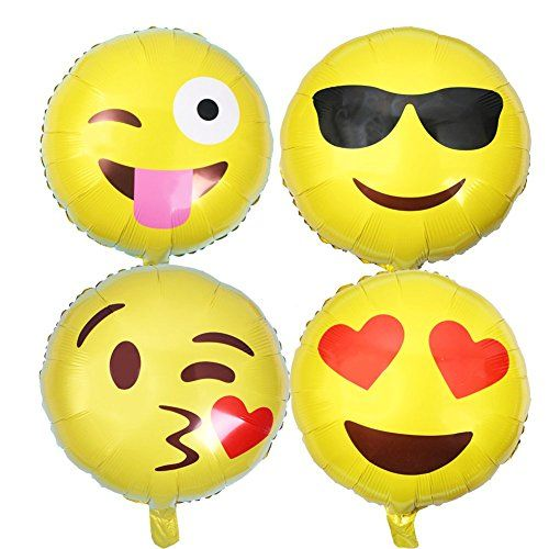 8-Pack helium balloons with popular emoji faces designs,18 inches,these helium balloons are high quality and will be great decorations for kids` party,get-together and so on.Someone may not know how to blow the balloons, now in the last picture, we show the ways. You should firstly find the air inlet,then insert into the air inlet with …