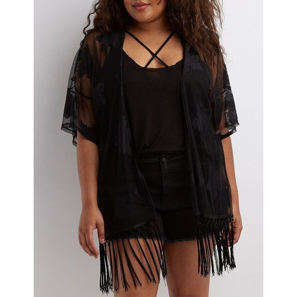 Charlotte Russe Fringed Floral Lace Kimono ($28) ❤ liked on Polyvore featuring plus size women's fashion, plus size clothing, plus size intimates, plus size robes, black, short sleeve robe, sheer lace robe, lace kimono, floral fringe kimono and fringe kimono
