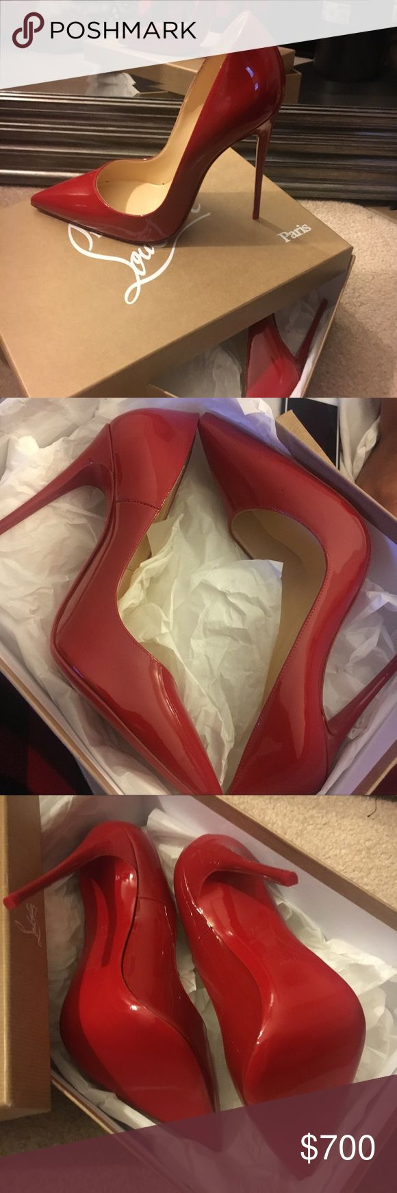 NEVER WORN - Flamingo SoKate size 39 A sexy and classy shoe. Never before worn except for once on the carpet (I ordered the wrong size) Flamingo SoKate ordered online. Comes with box, 2 dusters, 2 additional heel stoppers. Patent Leather Christian Louboutin Shoes Heels