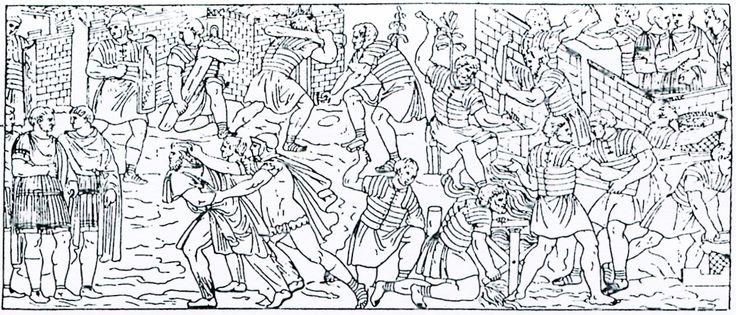 13 Een vijandelijke spion wordt voor de keizer gevoerd; Soldaten bouwen een brug en een fort.