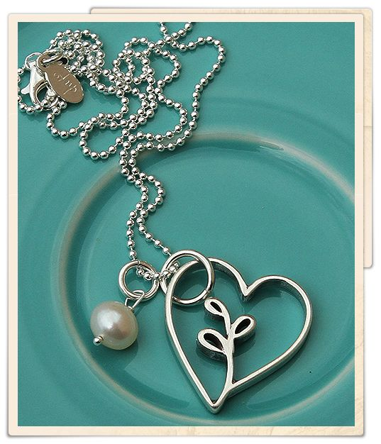 """""""you grew in my heart"""" necklace from the Vintage Pearl. Beautiful piece for adoptive or step-parents."""