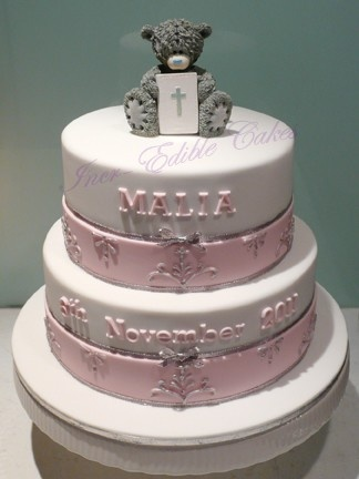 Two tier Girls Christening cake with piping detail and topped with 'Me 2 You' teddy bear.  Inspired by an 'Inspired by Michelle Cake Design'
