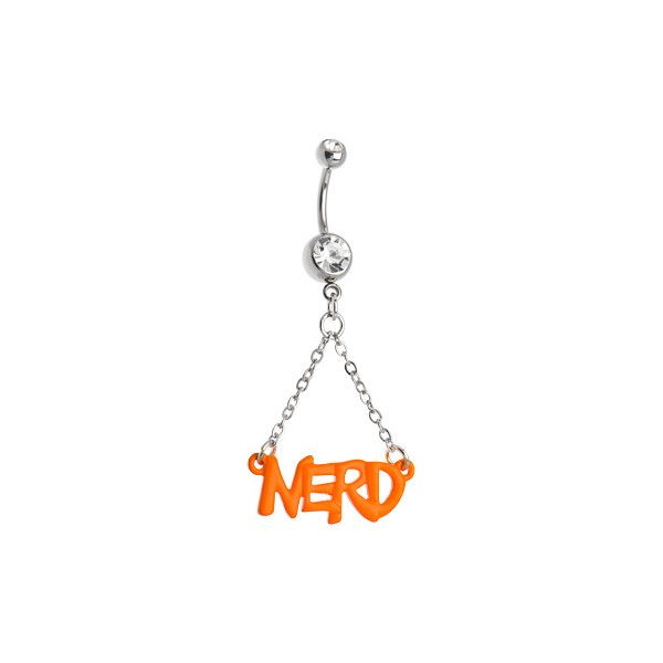 Neon Orange Nerd Belly Ring | Body Candy Body Jewelry ❤ liked on Polyvore