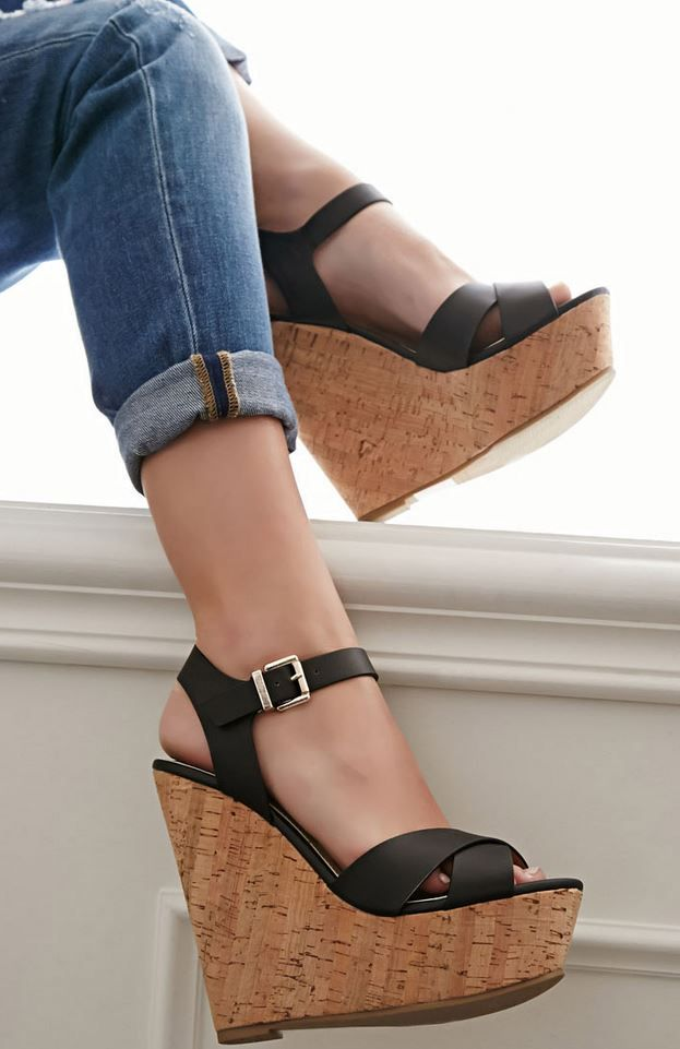 Strappy Cork-Sole Platform Wedges at Forever21 - Trendslove