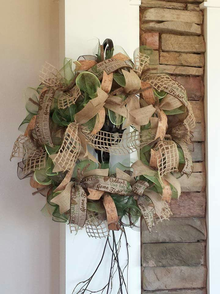 camouflage wreath with fishing theme.
