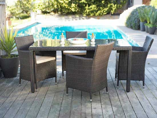 Dania - Create an inviting outdoor dining space with our new Atopa collection. Built to withstand the elements in an all-weather resin wicker with a rust proof powder coated aluminum frame and a tempered glass top. The seat cushion fabric is 100% polyester and should be brought indoors when they are not in use in the winter. A liquid UV polish can be applied to the wicker for increased longevity. Atopa square table also available. Group prices available, contact store for details.