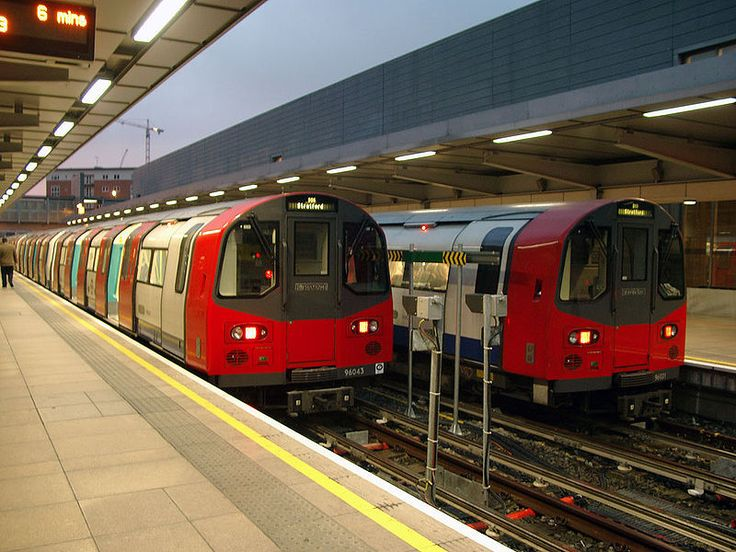 London Underground Jubilee Line 1996-Stock trains at Stratford.