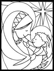 The Baby Jesus In Arms Of His Mother Mary With Star At Bottom Coloring Page