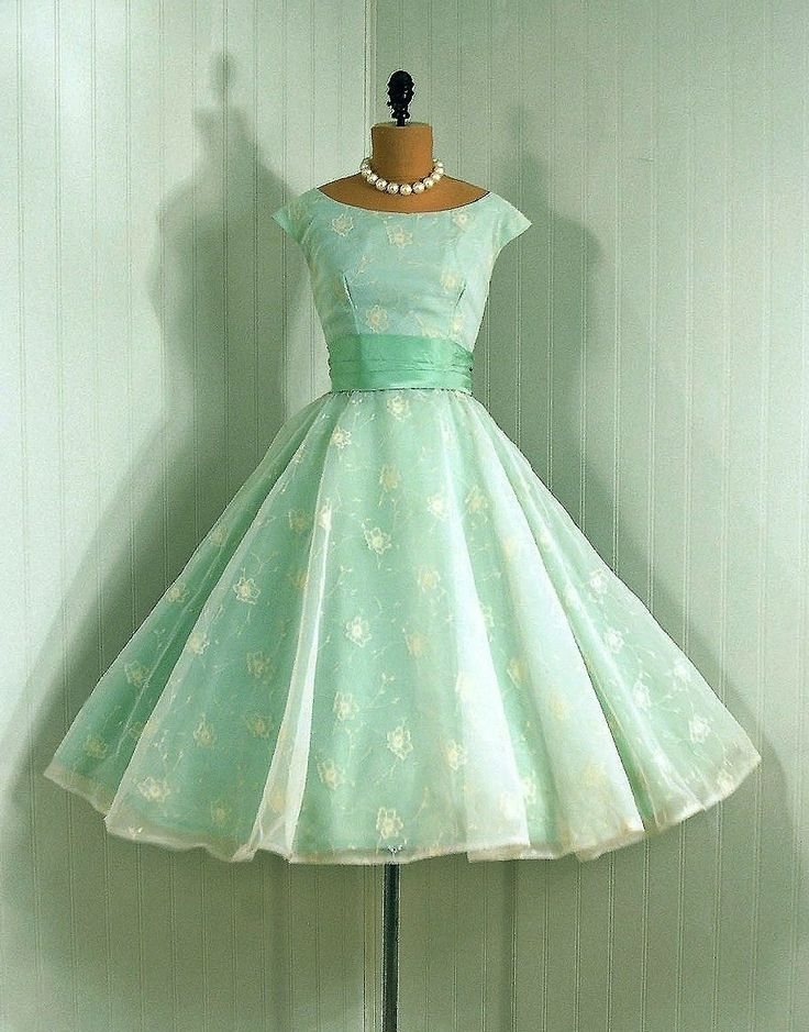 soft aqua 1950s party dress as seen at http://filmfataleevents.blogspot.com/2011/07/1950s-summer-fashion.html
