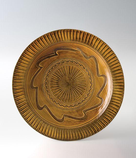 "Onda Yaki, Onta Ameyu Ni-shaku, large plate, stoneware, 4.75 x 24.5 x 24.5"" 小鹿田焼き、二尺皿、意匠「飛び鉋+刷毛目」"