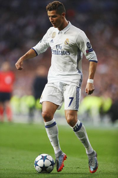 Cristiano Ronaldo of Real Madrid in action during the UEFA Champions League semi final first leg match between Real Madrid CF and Club Atletico de Madrid at Estadio Santiago Bernabeu on May 2, 2017 in Madrid, Spain.