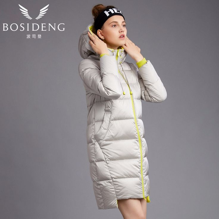 BOSIDENG women's coat duck down coat winter long jacket hooded outwear draw-string hat workout coat girl B1601192