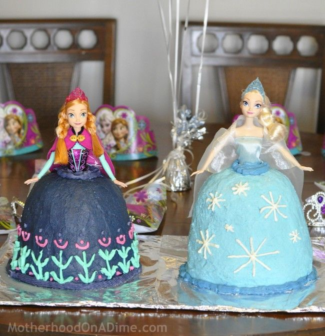 Frozen Party: Anna Cake & Elsa Cake Tutorial @ruhamah2007  Sarah is getting the needed dolls for her birthday...I know I was going to make a butterfly to keep it simple, but if you decide you want to surprise Sarah with these cakes, let me know. :)