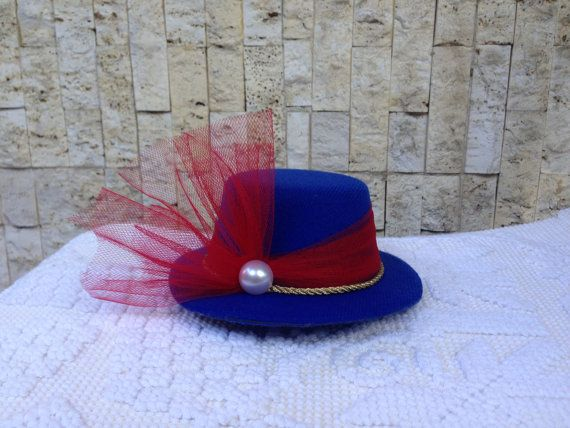 Royal Tea Hats - 4th of July Mini Hat! Red, White and Blue Tea Party Hat, derby, bridal shower - the handmade, mini top hat clips to hair