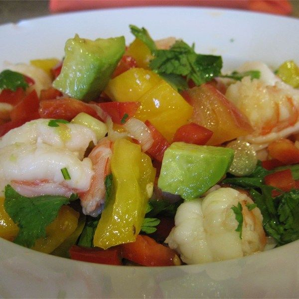 "Avocado-Lime Shrimp Salad (Ensalada de Camarones con Aguacate y Limon) I ""This recipe was quick, easy and DELICIOUS! It has a really fresh feel- great for summertime!"""
